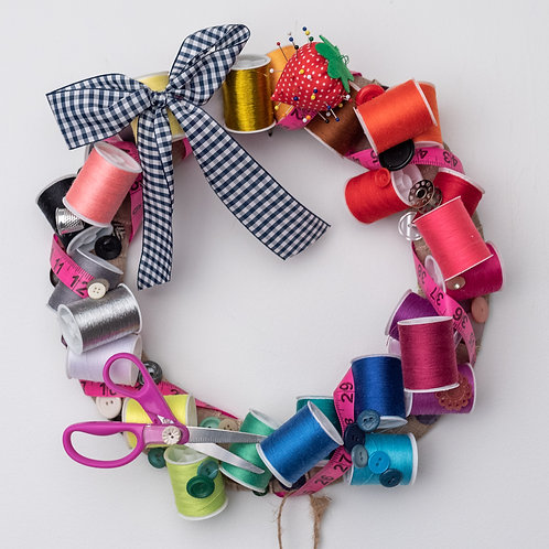 Sewing Notions Wreath with Pink Scissors
