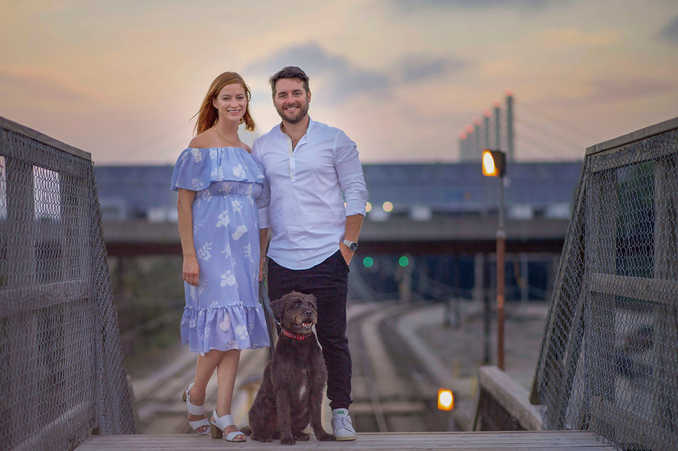 Couple, pets, family sunset photography