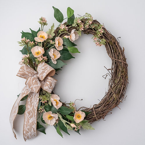 Peach with Lace Wreath