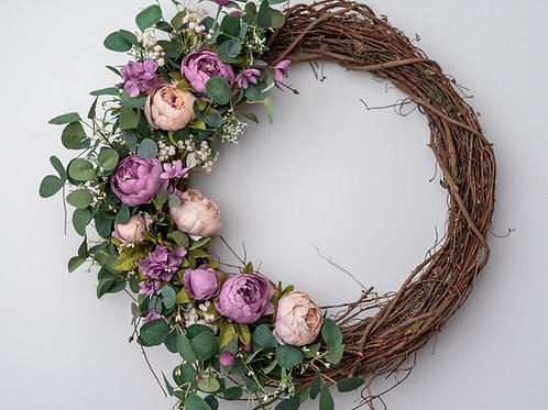 Lavender and Peach Peony Wreath