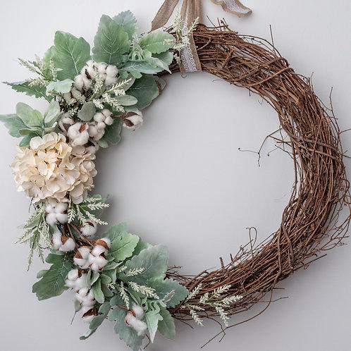 Cotton, Lambs Ear and Hydrangea Wreath