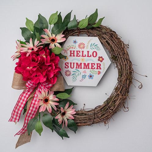Hello Summer Pink Hydrangea Wreath