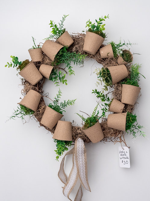 Pots and Moss wreath