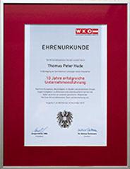 Im November 2015 erhielt ich von der Wirtschaftskammer Kärnten die Ehrenurkunde für 10 Jahre erfolgreiche Unternehmensführung
