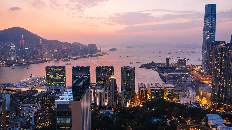 Aerial scenery panoramic view of Hong Kong Evening with metropolitan bay Victoria Harbor a