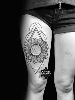 Geometric Sunflower Thigh