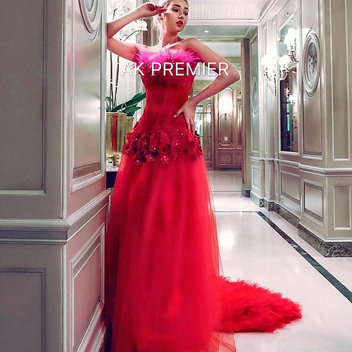 Red Unique Gown with attachable gorset