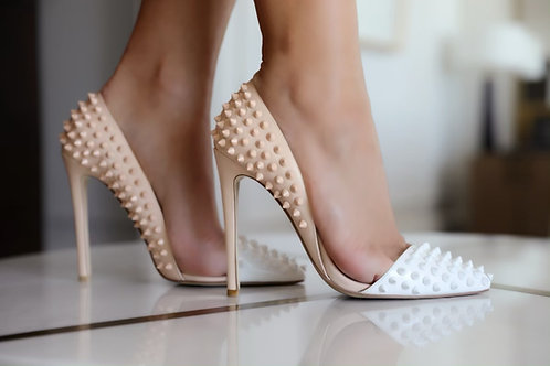 Glamorous High heels with studs in white beige colour
