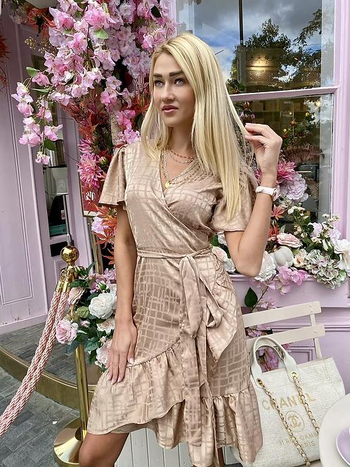 Caroline Gold Champagne Wrap around Dress