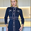 Thumbnail: Eliza midnight sparkle blue with Gold button-embellished bodycon dress