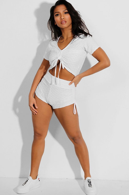 SHORSO TWO-PIECE YOGA SET DRAWSTRING CROP TOP AND SHORTS IN WHITE
