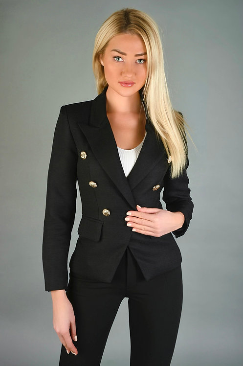 DESIREE GOLD BUTONNED BLACK JACKET