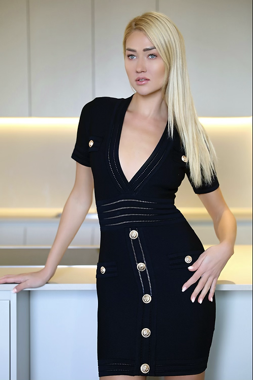 Laura Black stretch bodycon fitted V-Neck Dress