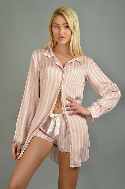 Seline Pastel pink Loungewear Pyjama Set