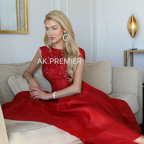 CWS Understated elegant hand embroidered red evening dres