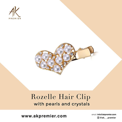 Rozelle Hair Clip with pearls and crystals