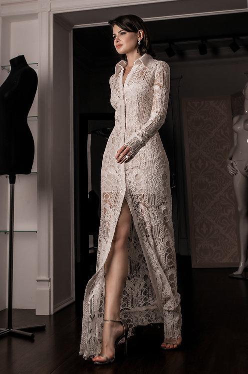 Elegant Celiné white lace dress