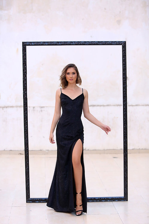 Arielle Classic Black Velvet Long Dress