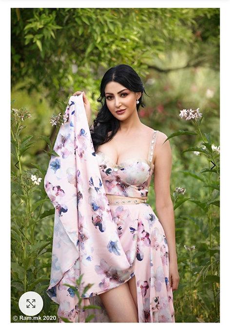 Clara Natural silk, Swarovski embroidery Dress