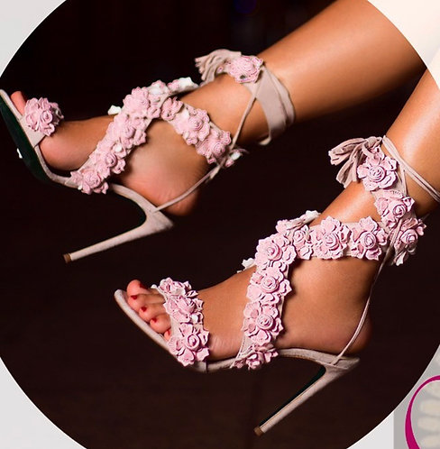 Leather Luxury Flower Embroidered High heels