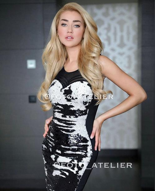 Short embellished black party dress