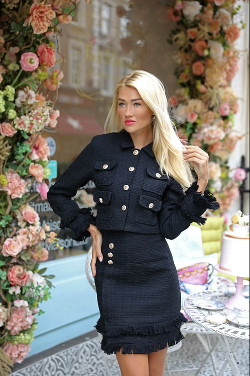 Isabelle Royal Black Tweed Suit -Jacket & Skirt with gold buttons