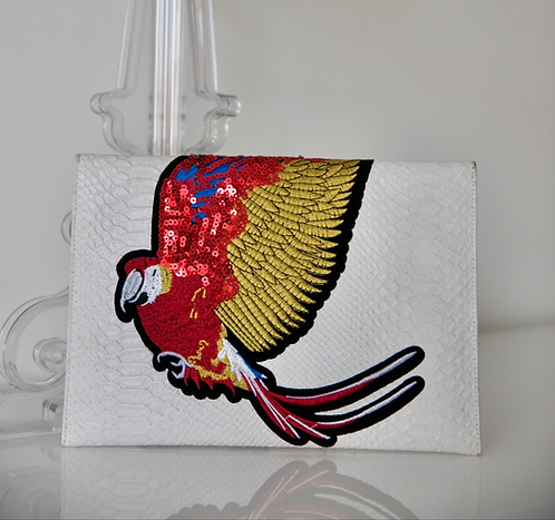 Croc leather effect white Clutch bag with print