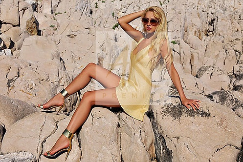 CWS Gold De La Kali glamorous cocktail dress
