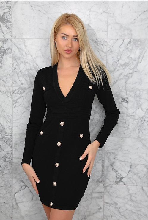Annette Black Bodycon fitted V-Neck Dress