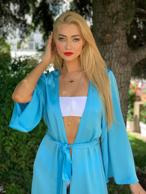 Silk Kaftan Beach luxury sky blue dress