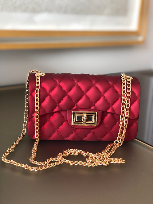 Pearl Matte small bag with gold chain