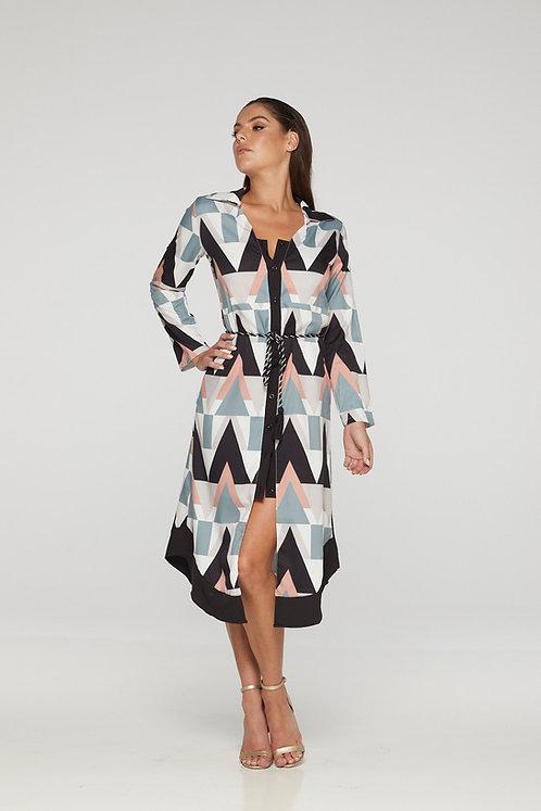 Elegant print dress with belt detail