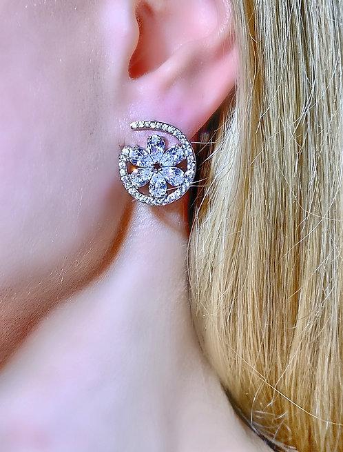Paris Silver Floral Earrings