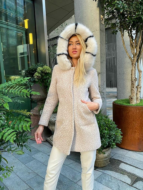 Alice Wool and Cashmere-blend coat with Faux Fur hoodie