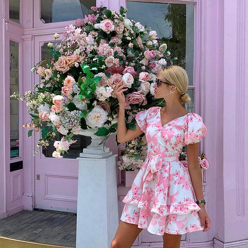 Seville Pink Floral V-neck summer dress