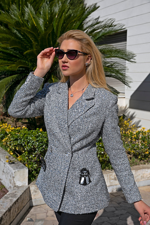Esther Luxury Silver Tweed Women's Jacket