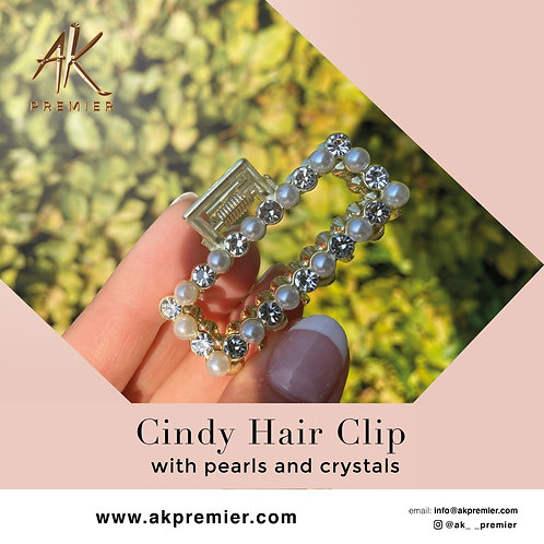 Cindy Hair Clip with Pearls and Crystals