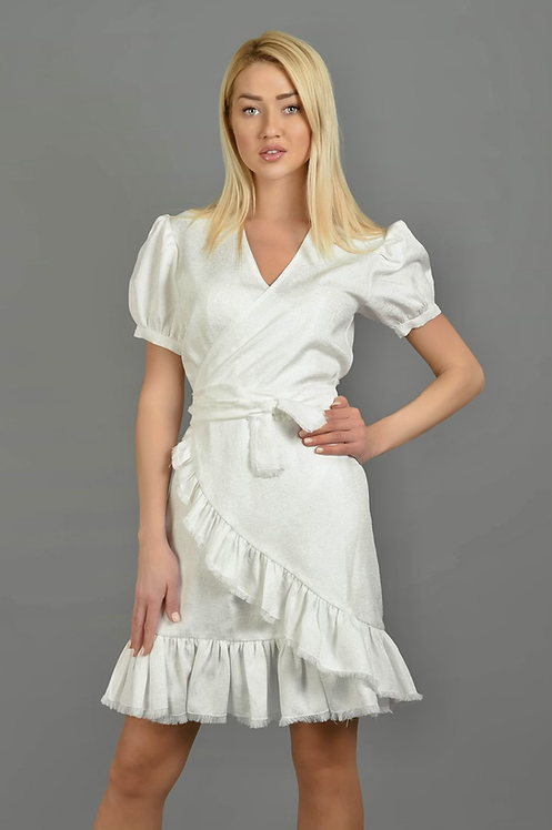 Angelique The  Wrap Midi Dress in Sparkling  unique white