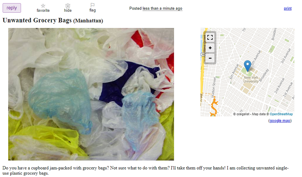 Craigslist ad for grocery bags
