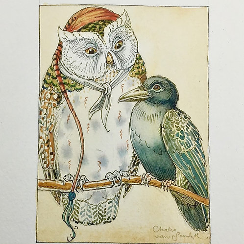 Fledgling Raven Learns from Wise Old Owl **SOLD**