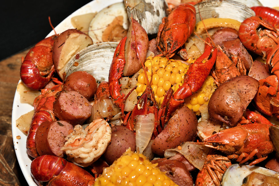 Cajun style seafood boil on a serving di