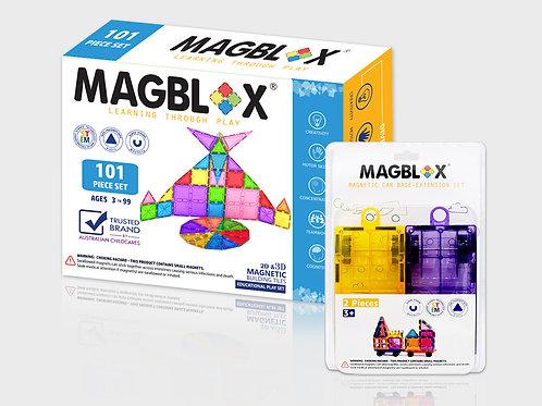 MAGBLOX® 101PCS AND MAGNETIC CAR BASE (TWIN PACK) BUNDLE