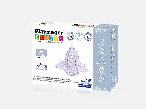 PLAYMAGER BLOCKS 34PCS SET - ICE colour Magnetic Tiles