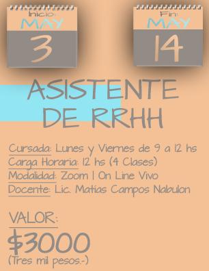 Tarjeta Asistente RRHH MAÑAÑA - 0305 al