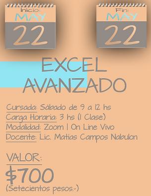 Tarjeta Excel Avanzado MAÑANA - 2205 al