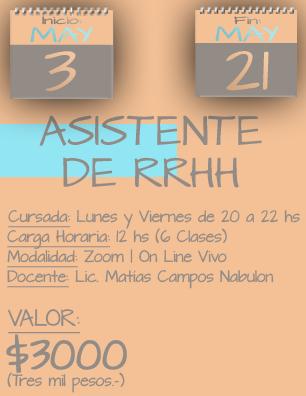 Tarjeta Asistente RRHH NOCHE - 0305 al 2