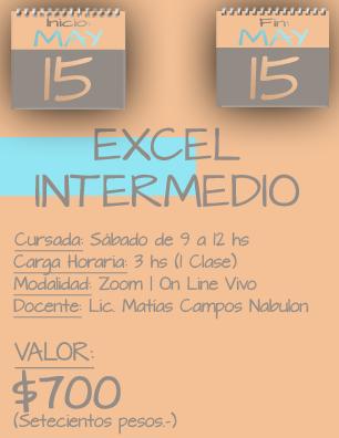 Tarjeta Excel Intermedio MAÑANA - 1505 a