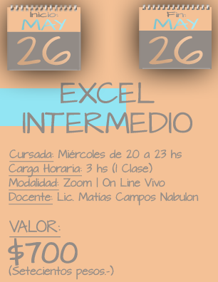 Tarjeta Excel Intermedio NOCHE - 2605 al