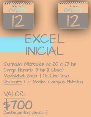 Tarjeta Excel Inicial NOCHE - 1205 al 12