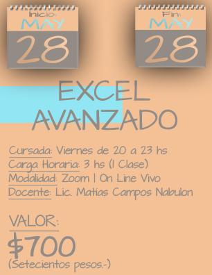 Tarjeta Excel Avanzado NOCHE - 2805 al 2